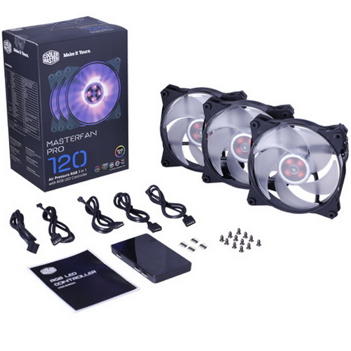MasterFan Pro 120 Air Pressure RGB 3 in 1 with RGB LED Controller [MFY-P2DC-153PC-R1] MFY-P2DC-153PC-R1 , RTL {18} (490)
